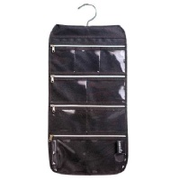 Misslo 8 Zippered Pockets Travel Jewelry Roll up Organizer with Rotatable Hanger (Black)