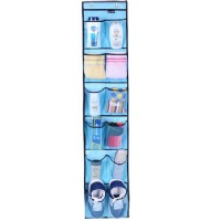 Heavy Duty Over the door Storage with 12 Mesh Pockets (Blue)