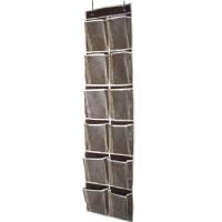 MISSLO Heavy Duty Over Door Organizer Hanging Shoe Storage for Narrow Door with 12 Large Mesh Pockets (Coffee)