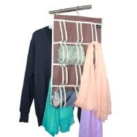 Misslo Hanging Scarves Shawls Organizer Accessories Holder (24 Loops, Coffee)