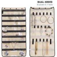 Misslo Jewelry Organizer Hanging For Travel Home Storage 30 Zippered Pockets 17 Loops, Beige