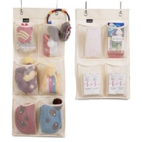 Misslo Hanging Organizer Over the Narrow Closet Door for Shoes, Hats, Gloves, Snacks, Pack 2, Beige