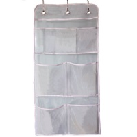 Misslo Hanging Mesh Pockets Hold 340oz/1000ml Shampoo Shower Organizer with Over the Door Hooks (15 W 31 L, White)