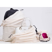 Set of 3 Cotton Breathable Dust-proof Drawstring Storage Pouch Multi-functional Bag (Beige)