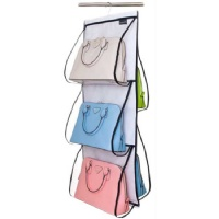 Misslo Hanging Closet Handbag Organizer Purse Holder, Clear (White)