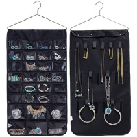 Misslo Jewelry Hanging Non-woven Organizer Closet Door Holder 30 Pockets 17 Hook and Loops W/hanger (Black)